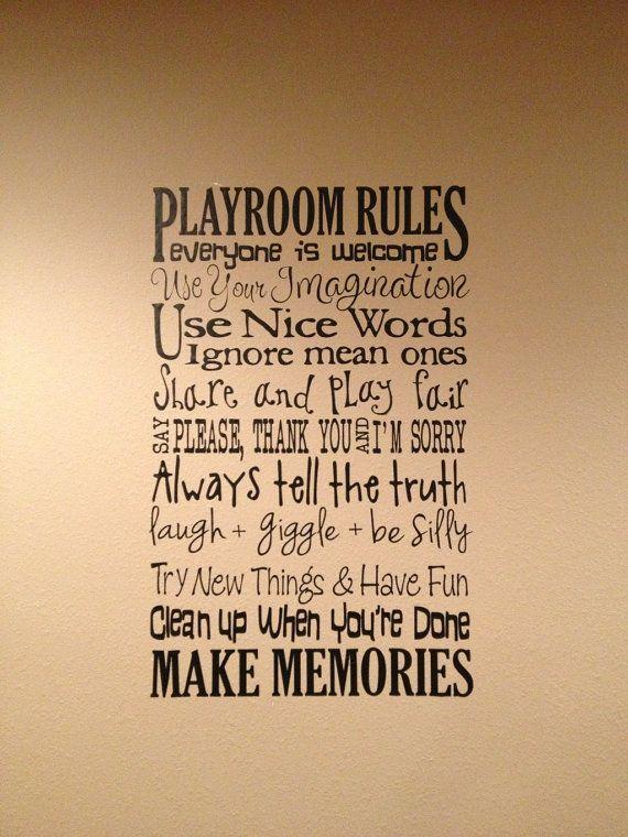 XL Playroom Rules Saying Vinyl Decal- Wall Art- Subway Art, Toy Room on Etsy, $28.00