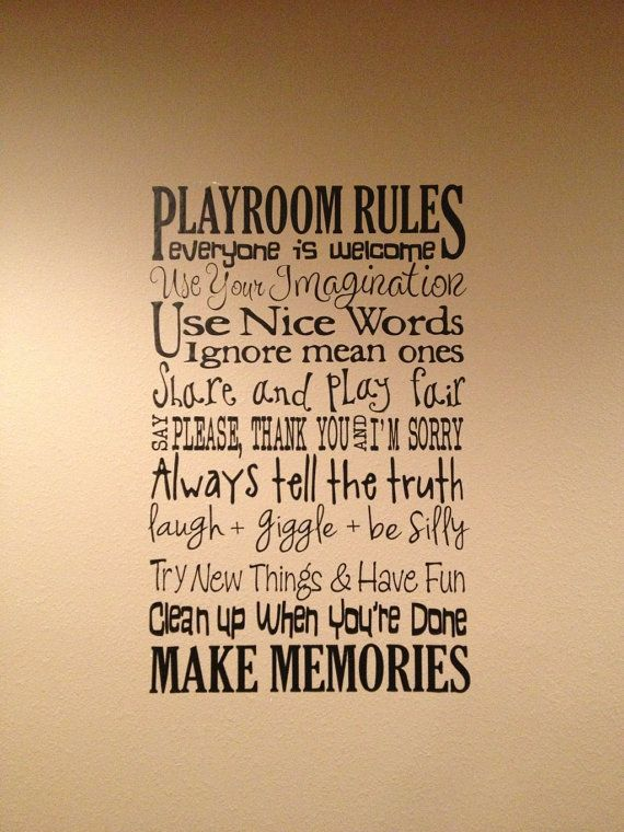XL Playroom Rules Saying Vinyl Decal- Wall Art- Subway Art, Toy Room on Etsy, $28.00