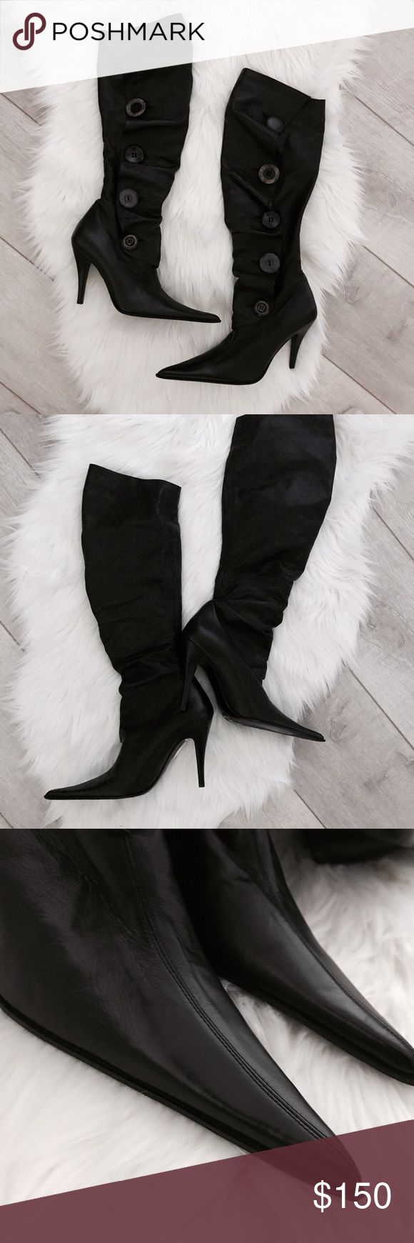 Les Tropeziennes Collection Black Leather Boots Practically new, excellent pre-owned condition, no flaws. Worn once and shows no signs of wear. Tall boots with mismatched buttons and a ruffled design with an amazing soft genuine leather material. Les Tropeziennes Shoes Heeled Boots