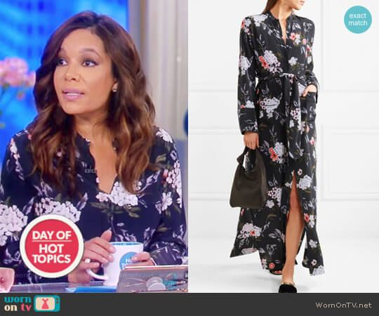 Sunny's black floral print dress on The View.  Outfit Details: https://wornontv.net/85572/ #TheView