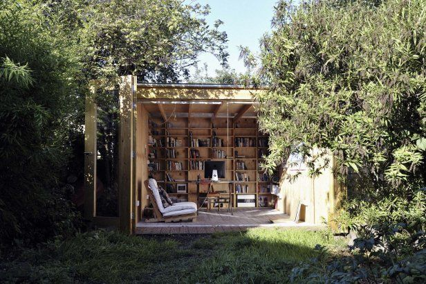 Backyard shed office