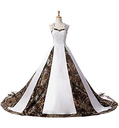 BEALEGAN Lady Women's Camo Wedding Dresses Camouflage Satin Bridal Gowns White Camo 12