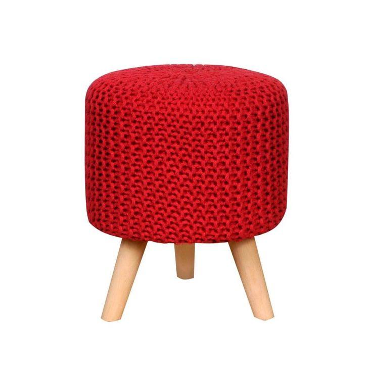 Puff Tejido Crochet Carmin Y Madera  (eD)