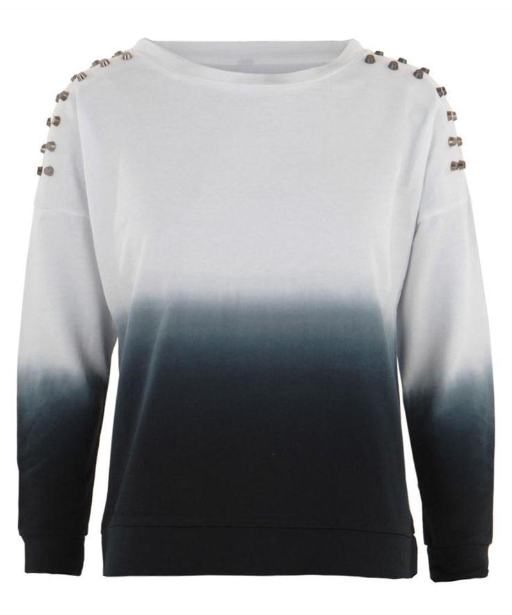 Studded Shoulder Ombre Dip Dye Jumper Sweater Top