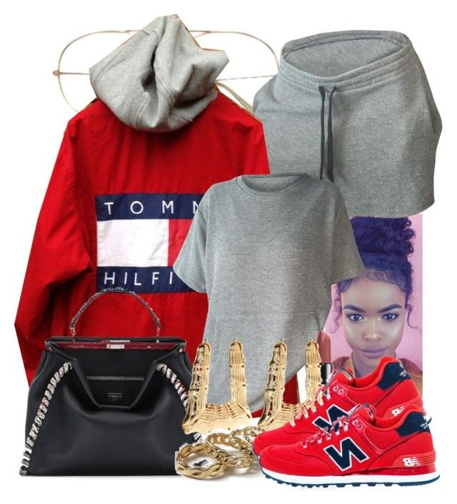 """""""10/12/16"""" by jasmineharper ❤ liked on Polyvore featuring Fendi, River Island, Topshop and New Balance"""