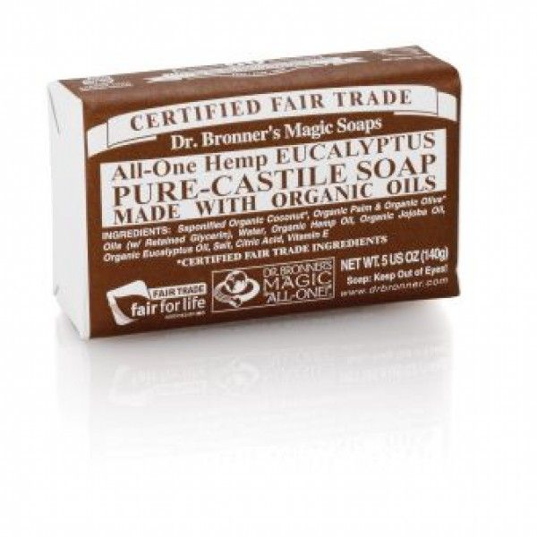 Dr. Bronner's Eucalyptus Castile Bar Soap opens your pores and clears your sinuses while enveloping the body in its warm, invigorating vapors.