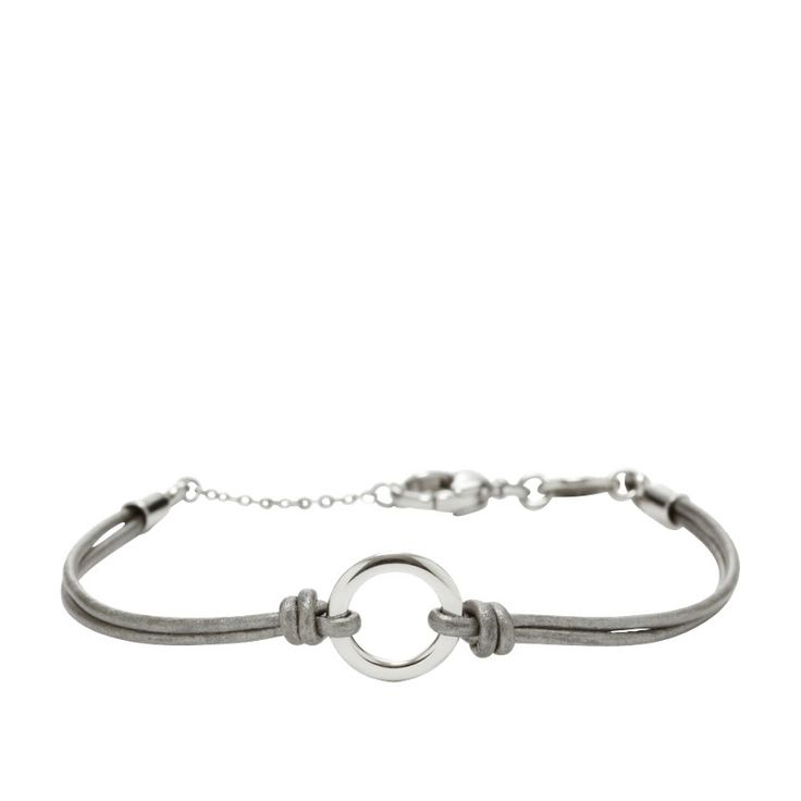 Fossil Leather Circle Charm Bracelet - Gray JF00476 | FOSSIL®