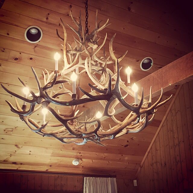 Stagridge- large naturally  shed antler chandelier featuring two tiers with a na…