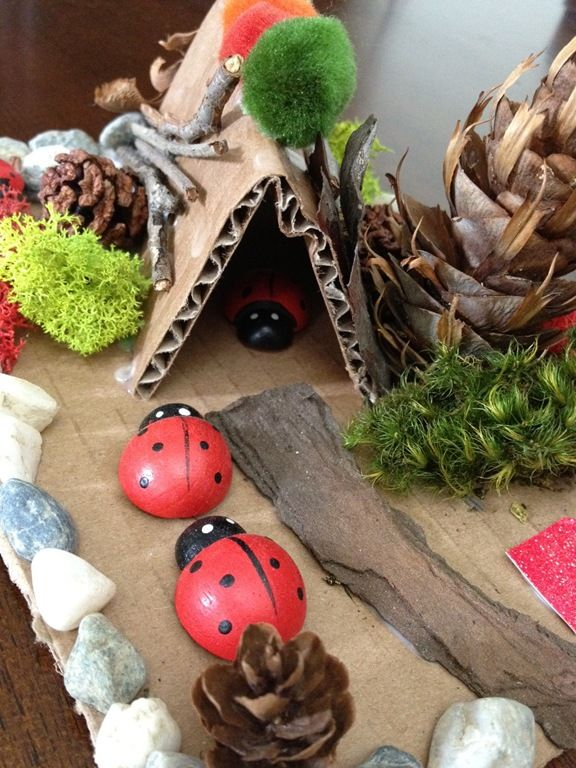 "Making fairy & elf houses -love the use of the corrugated cardboard here ("",)"