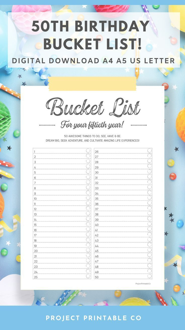 50th Birthday Bucket List Printable Digital Pdf Download A4 Etsy 50th Birthday Bucket List Printable Planner Pages