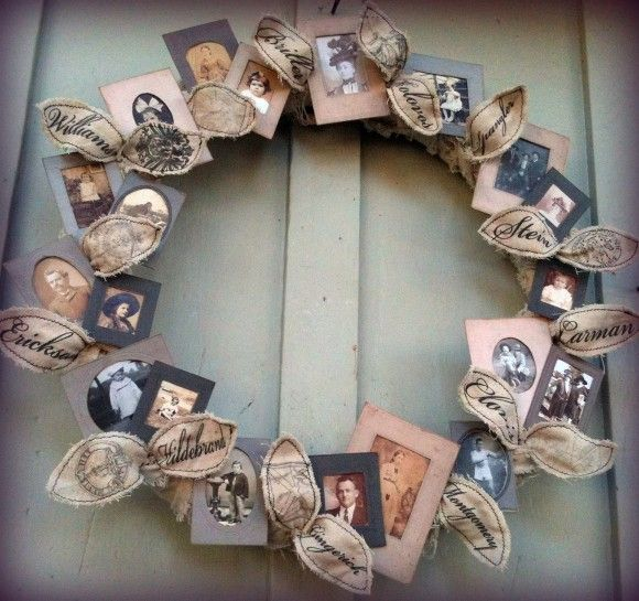 This family photo wreath costs less than $ 10 to make. The