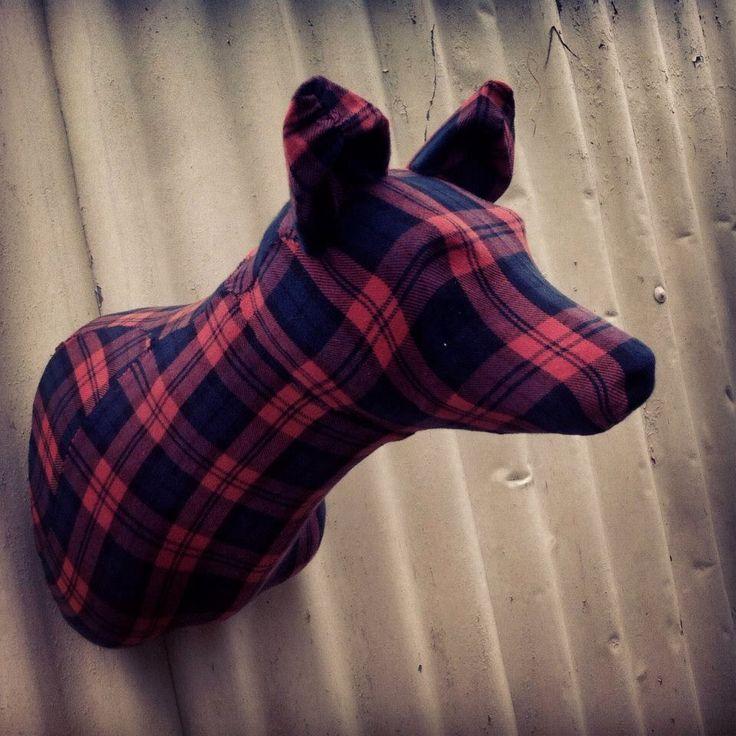 'Flannel Dingo' by MKD - http://mkd.bigcartel.com/ #flannel #plaid #fabric #taxidermy #fauxtaxidermy #mkd #theworkofmkd