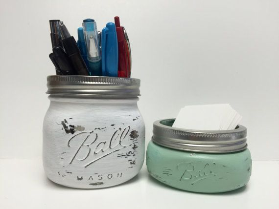 Office Sets Mason Jar Office Decor Business by PrettySimplyStudio