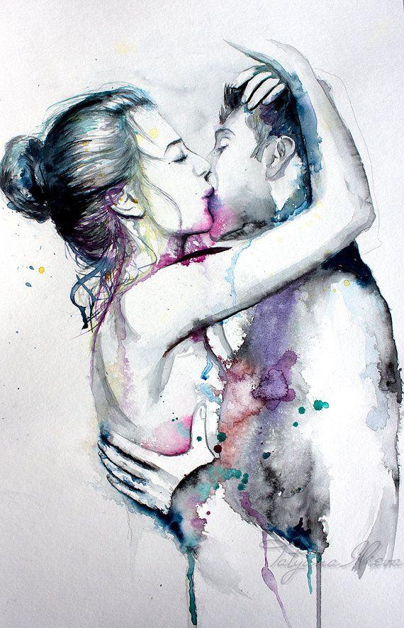 Couple portrait watercolor art print. Wall art, wall decor, digital print.