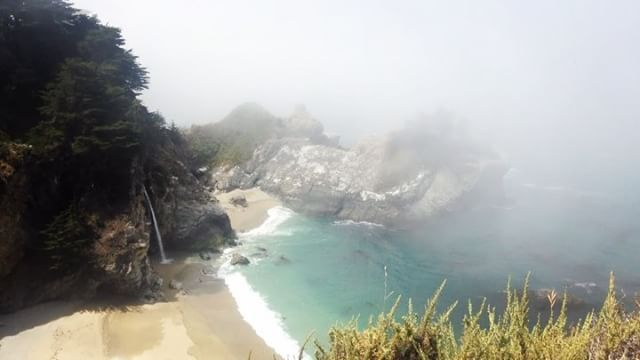 A quiet, foggy day at McWay Falls. #bigsur #mcwayfalls #peaceful #whereareallthepeople #waves #waterfall #colorscheme #calocals - posted by Ventana Wildlife Society https://www.instagram.com/ventanawildlifesociety - See more of Big Sur, CA at http://bigsurlocals.com