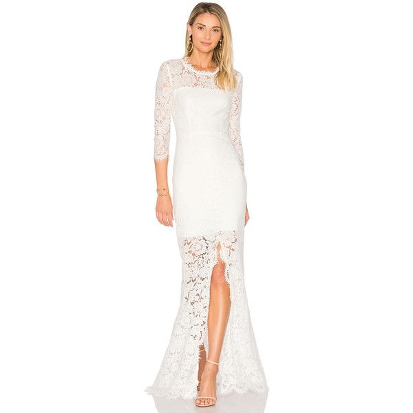RACHEL ZOE All Over Lace Gown ($495) ❤ liked on Polyvore featuring dresses, gowns, lace overlay dress, lace evening dresses, white evening dresses, white lace overlay dress and eyelash lace dress