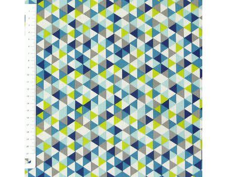 Baumwollstoff Trimix Dreiecke weiß blau grün grau