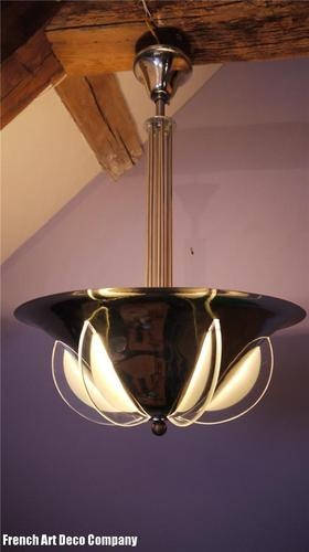 "French Art Deco Chrome ""Comet"" Ceiling Light c1930"