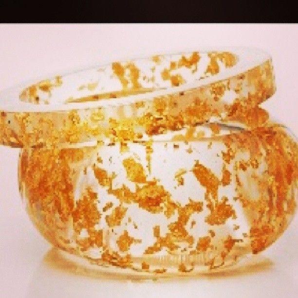 Gold leaf resin Liquidity Bangle by Kate McCoy, instore now www.katemccoy.com