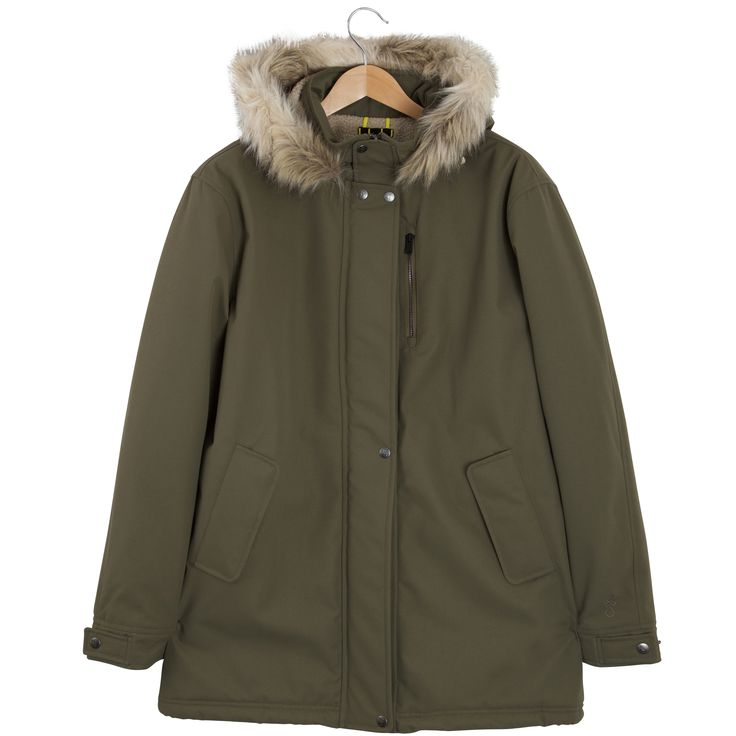 Roamers & Seekers Precision Military Olive Green Parka Jacket: Precision; a three quarter length, sherpa lined and quilted parka, in a superior twill weave shell. Sleek, urban design teamed with a fur trimmed hood and multiple pockets. Perfect for the winter months walking the urban hills. The sherpa lining adds extra warmth for the coldest days. Double protected storm flap giving you extra protection from the elements. A real winner in our books.  Contrast coated zipper chest pocket with…