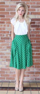 Full Green Skirt with White Polka Dots, Vintage Dress, Church Dresses, modest skirt, trendy modest dresses, dresses for church, skirts for c...