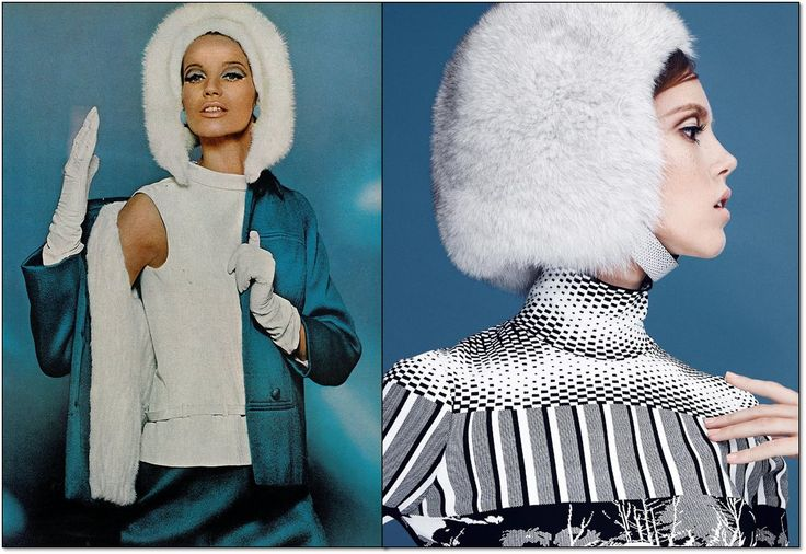 Слева: Vogue. 1965 г. Модель: Верушка (Veruschka). Фотограф: Берт Штерн (Bert Stern). Справа: L'Officiel. Турция. Сентябрь 2014 г. Модель: Жозефин Родерманс (Josefien Rodermans). Фотограф: Эмре Гувен (Emre Guven). #fashion #fashioninspiration #style #60s #1960s #SperanzaFirsace