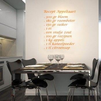 Een interieursticker met een recept is leuk voor aan de muur in de keuken.