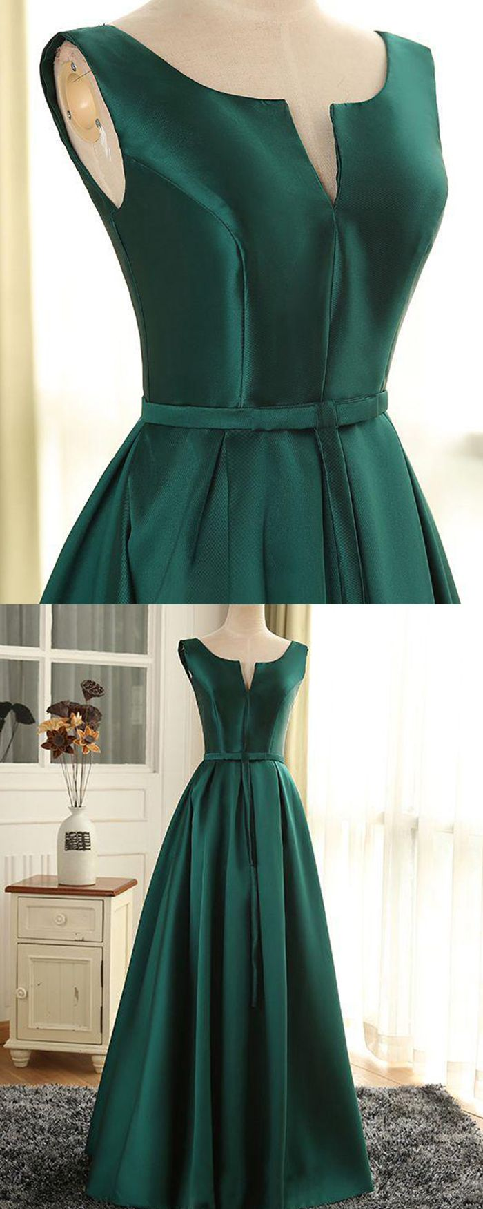 Scoop Cutout Satin Green Long Prom Dress With Lace Up Pm1368 Long Green Dress Trendy Party Dresses Simple Dresses [ 1750 x 700 Pixel ]