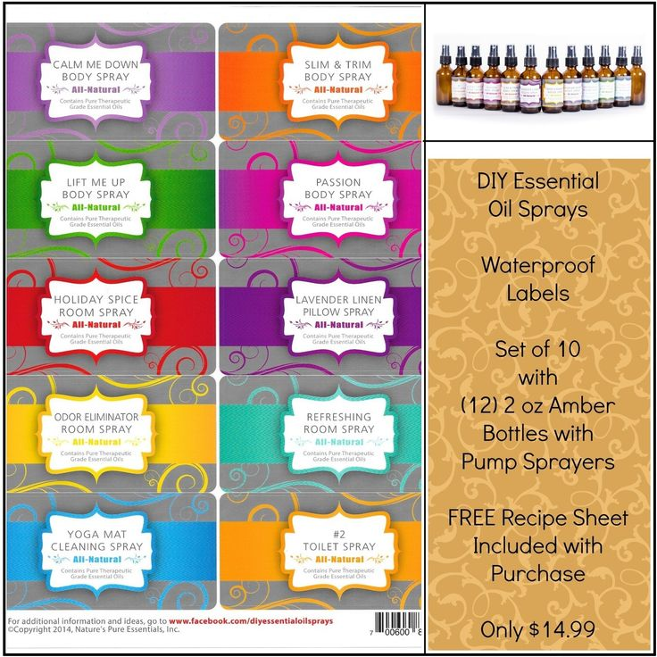 Bundle Diy Essential Oil Sprays Variety Labels With