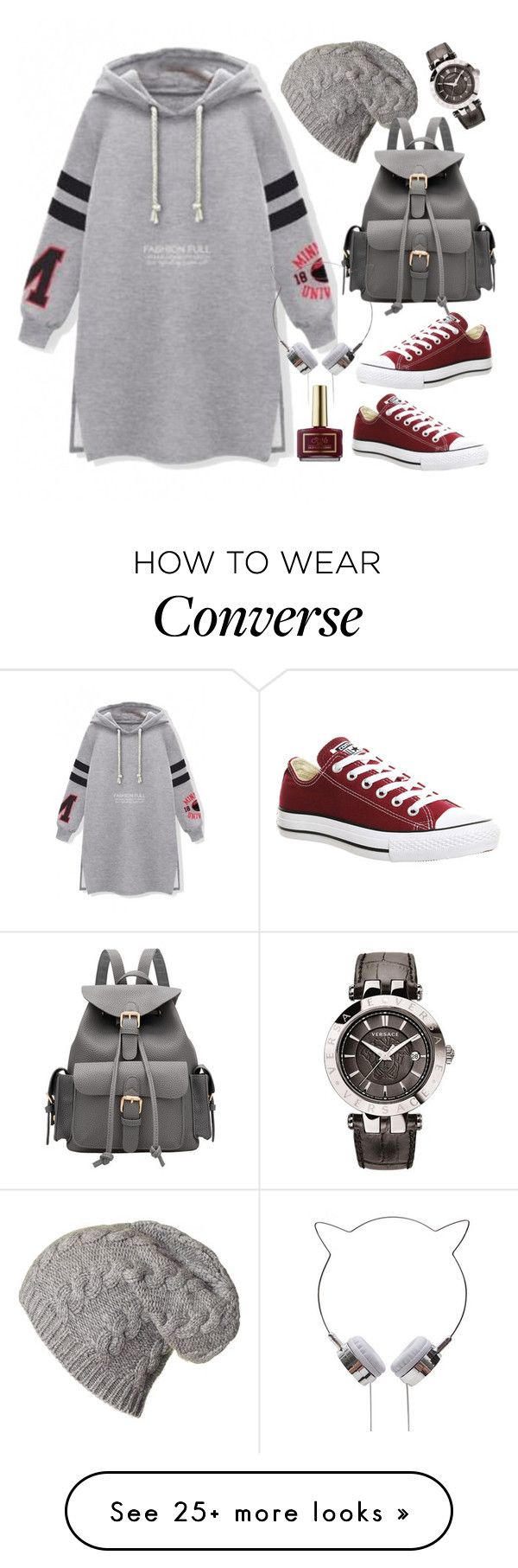 """""""Split hem hoodie"""" by thestyleartisan on Polyvore featuring Converse, Ciaté, Versace, women's clothing, women's fashion, women, female, woman, misses and juniors"""