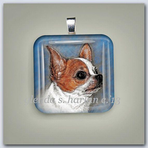 Red Smooth Chihuahua Dog Fine Art Glass Pendant by glendaharlan
