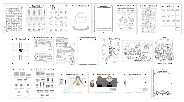 Book Cover Typography Worksheets ~ Printable wedding activity book a children kids pdf