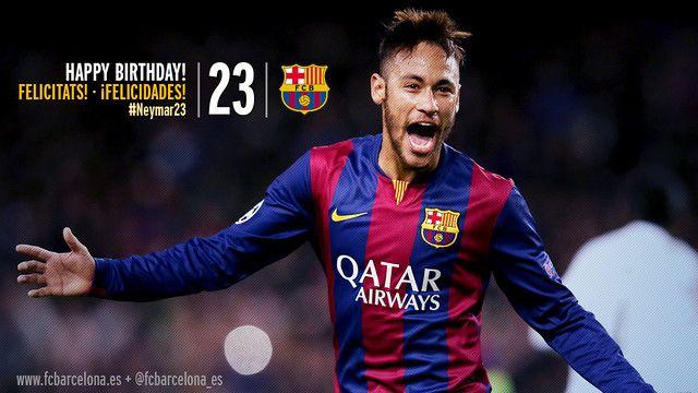 #Neymar23 (ESP) Felicidades!  WWW.FCBARCELONA.ES  05/02/201510:15  El delantero brasileño cumple 23 años en su temporada azulgrana más participativa en goles y juego  Sigue al FC Barcelona en redes sociales y celebra el aniversario del jugador con la etiqueta #Neymar23  Tweeten Twitter (abre nueva pestaña en el navegador)CompartirFC Barcelona en Facebook (abre nueva pestaña en el navegador)+1en Google plus (abre nueva pestaña en el navegador)Pinterest(abre nueva pestaña en el…
