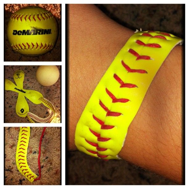 made a softball bracelet:) all you need is a softball (or baseball) and a box cutter!