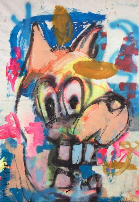 Peter Klashorst - Midas de Wolf  Acrylverf werk van Peter Klashorst uit 2013. De afmeting van het schilderij is circa 100 x 70 cm. Het doek is reeds voor u opgespannen op een houten frame.De gebruikte techniek is acrylverf op katoen. Let op: Als bewijs van echtheid ontvangt u bij dit originele werk de digitale foto waarop Peter zelf het werk in handen heeft (zie foto 2). Dit is voor u de garantie dat u geen vals werk koopt.  EUR 1.00  Meer informatie