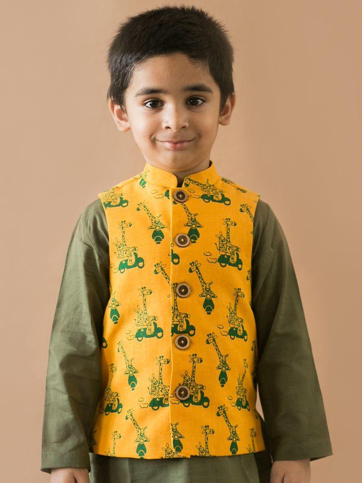 Buy Mustard  Giraffe and Zebra Print Nehru Jacket