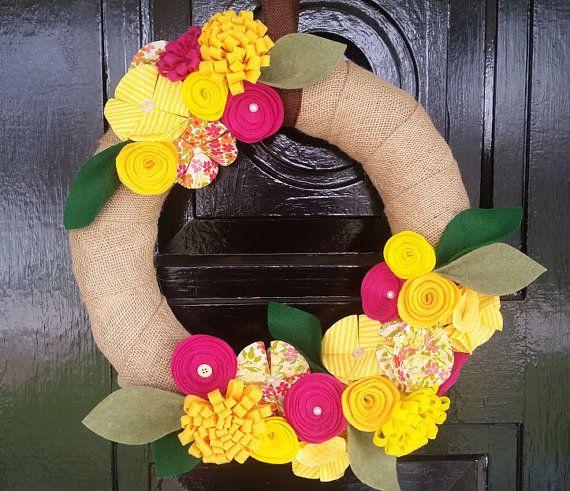 Couronne de Printemps/Eté toile de jute, couronne de fleur feutrine, printemps Decor, Decor de Summer, couronne de fleur tissu