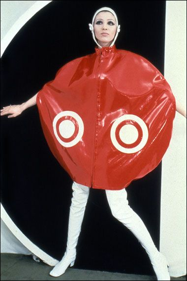 "Futuristic, more like futuristic ""Target"" store ad...........Pierre Cardin shiny plastic ""Satellite Cape"" ca. 1965"