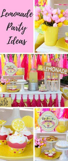 Yellow and Pink Lemonade Party Ideas - Perfect party for spring and summer. By Michelle's Party Plan-It