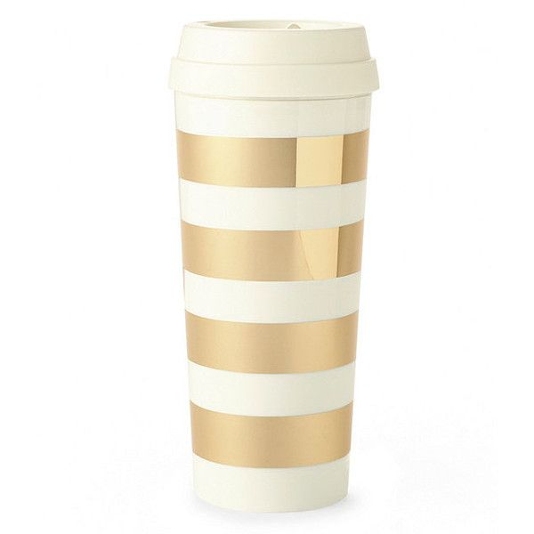 kate spade new york Gold Stripe Thermal Mug featuring polyvore, home, kitchen & dining, drinkware, accessories, cups, food and drink, kitchen, mugs and kate spade
