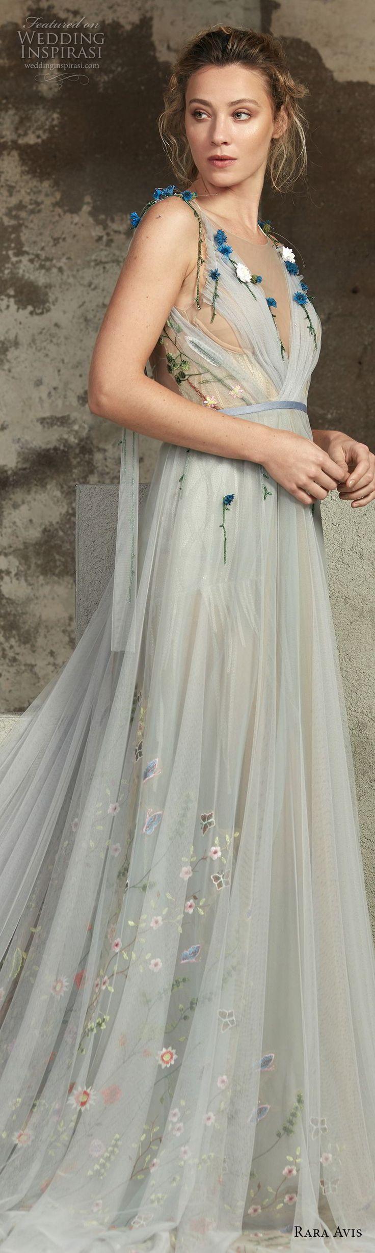 rara avis 2017 bridal sleeveless illusion bateau v neck lightly embellished romantic pastel blue tulle a  line wedding dress open back chapel train (12) sdv -- Rara Avis 2017 Wedding Dresses