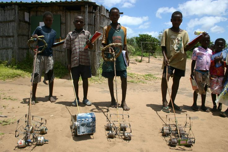 "Vincent in Malawi sent a link to this picture. He says, ""Kids usually make their own toys. A big hit is usually the wire car (""ma-wire"" in Chichewa) made from all sorts of bits and pieces you can find lying around. ...the really skilled kids can make some amazing stuff."