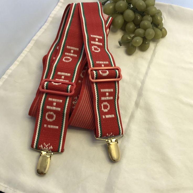 V359 Christmas, Ho, Ho, Ho ,suspenders, red non strectch, plastic clips, by TippysAttic on Etsy