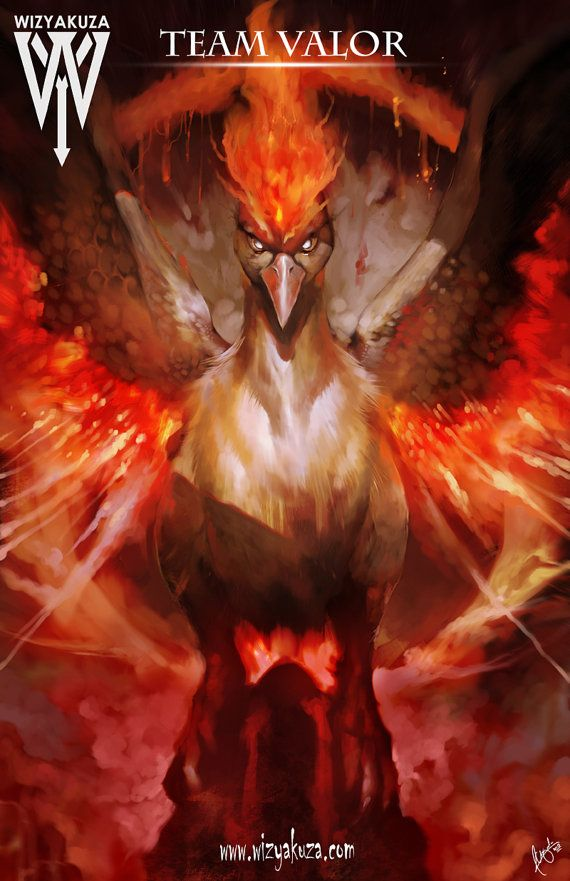 Team Valor Moltres  Pokemon Go  11 x 17 Digital Print by Wizyakuza