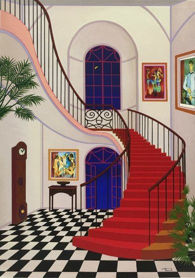 Interior With Red Staircase by Fanch Ledan