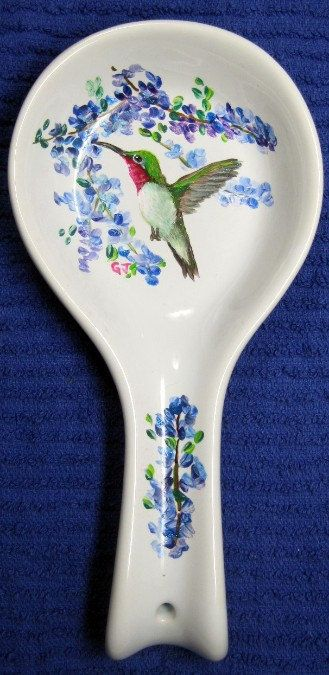 Hand painted ceramic spoon rest hummingbird by CritterArtDelights, $25.00