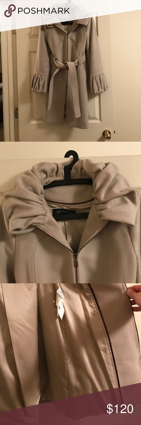 Zara woman wool coat size medium Zara size medium wool coat in amazing condition. Worn only a handful of times. Zara is a European brand and runs on the small side. Euro size medium. Purchased in Europe/Germany. Very original design. 67% wool, 15% angora, 18% polyamide Mango Jackets & Coats Trench Coats