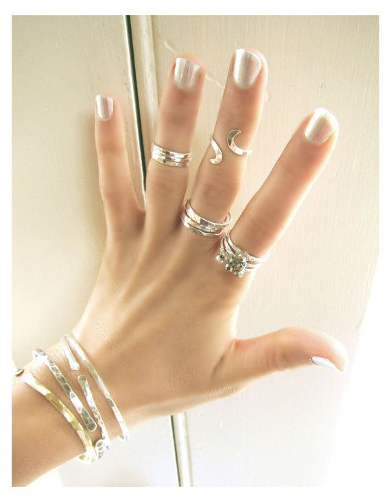 Set Of Five Sterling Silver Stack Rings Plus Adjustable Above The Knuckle Ring via Etsy