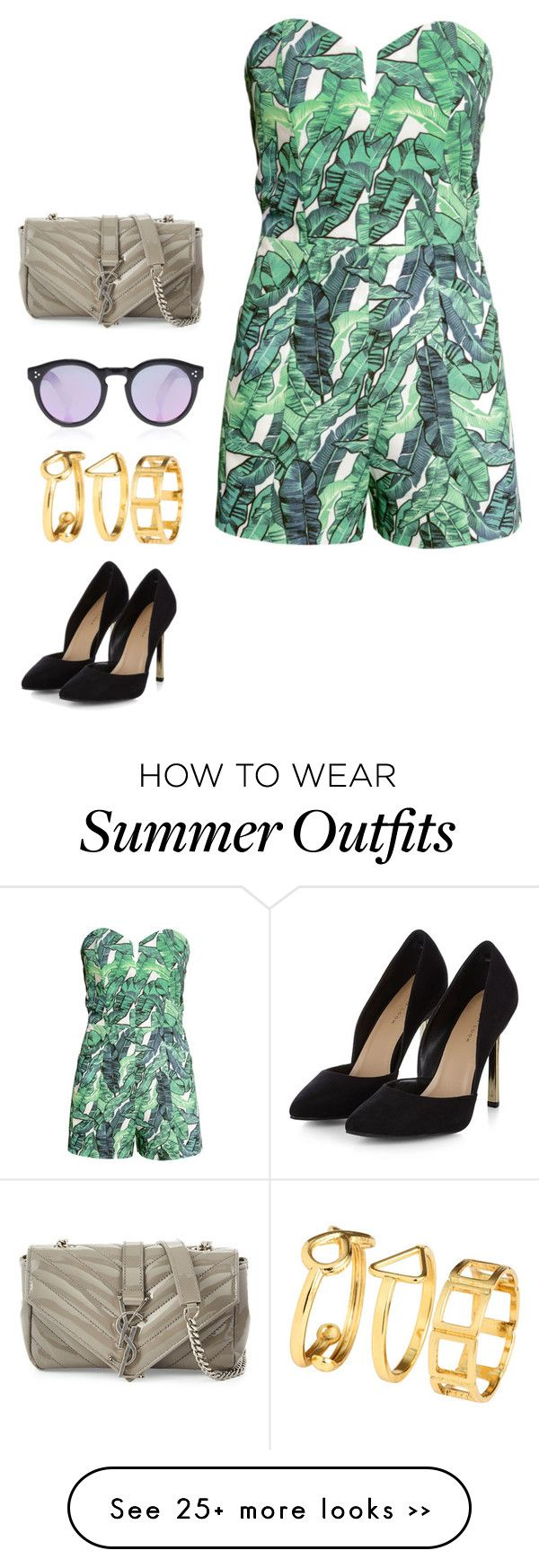 """""""Last summer outfit"""" by angiedisa on Polyvore featuring Yves Saint Laurent, H&M, Illesteva and Summer"""
