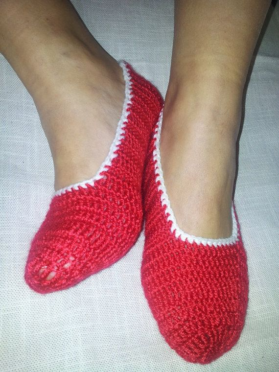 Red Healthy Booties Home slippers Dance classic yoga by NesrinArt, $18.00